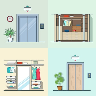 ワードローブ更衣室インテリア屋内エレベーター玄関ドアホールリフト廊下セット。