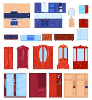 Wardrobe furniture vector illustration set.