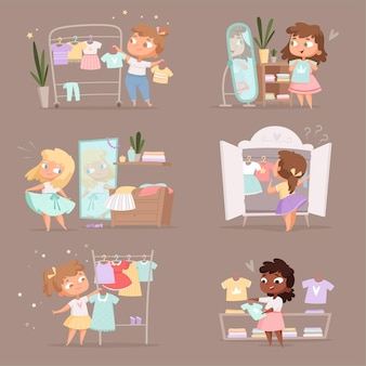 Wardrobe girl. parent help choice clothes for kids changing room in marketplace cartoon illustration. girl choice wardrobe, dress clothes on hanger