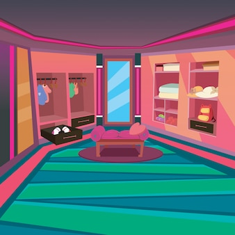 Wardrobe at home interior with cartoon style background