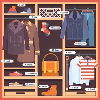 Wardrobe room full of man's cloths. flat style vector illustration