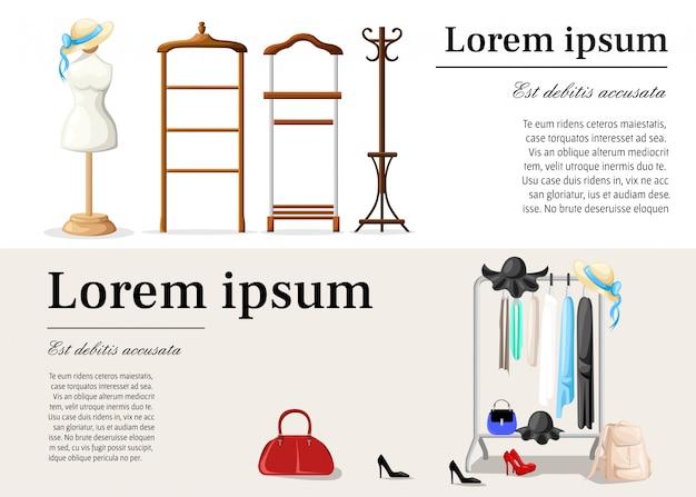 女性の服だらけのワードローブルーム。スタイルillustration.coatラック、ショールーム。フラットスタイルのwebサイトページとモバイルアプリのクローゼット。
