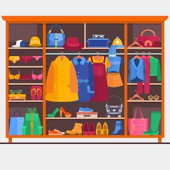 Гардеробная комната полна одежды женщины. векторные иллюстрации.
