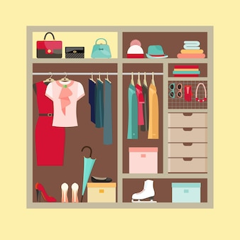 Wardrobe room full of woman's cloths and accessories. flat style vector illustration.