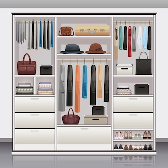 Wardrobe storage interior realistic