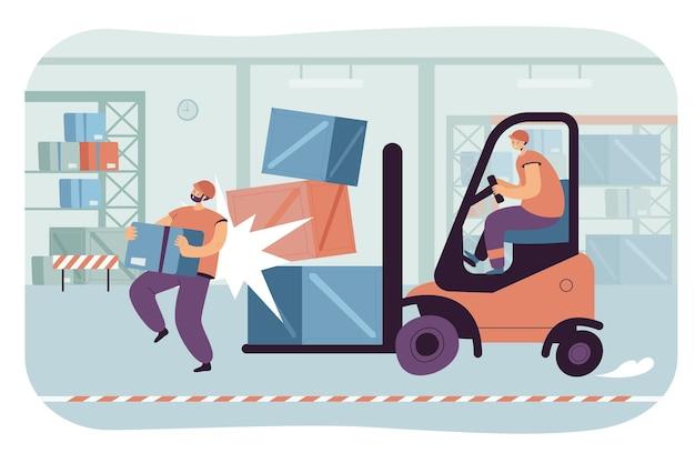 Warehouse accident flat illustration