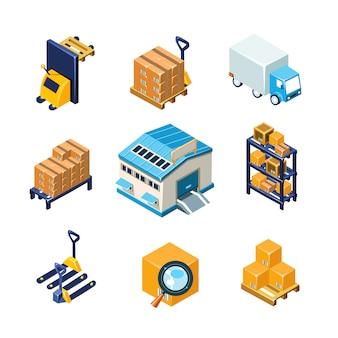 倉庫および物流機器セット。フラットイラスト