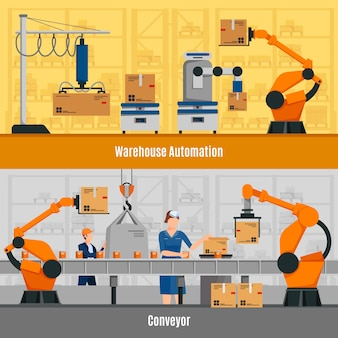 Warehouse automation banners set