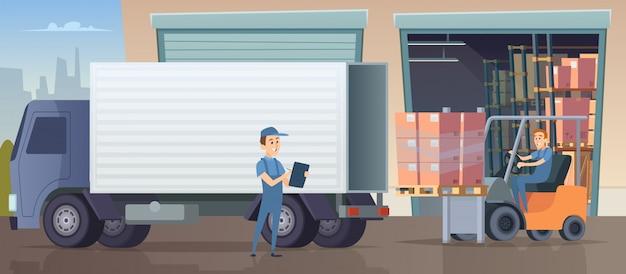 Склад фон. люди и машины работают в складском помещении и ставят в штучной упаковке на полках поддоны промышленных логистиков