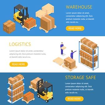 均一なビジネスデリバリーまたはロジスティックの労働者と水平に設定された倉庫バナー。等角投影図。