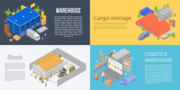Warehouse building banner set, isometric style