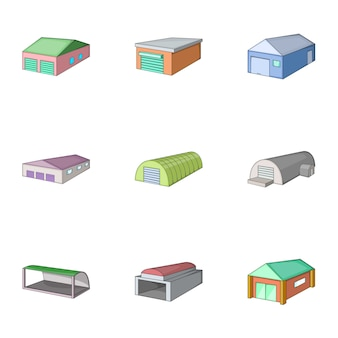 Warehouse building icons set, cartoon style