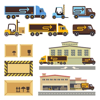 Warehouse building and transportation vehicles icons set