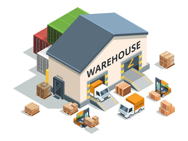 Warehouse building, trucks and load machines.