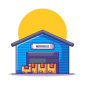Здание склада с коробками иллюстрации шаржа
