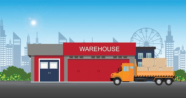 Warehouse building with semi-trailer truck.