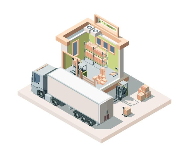 Warehouse building with truck and cargo isometric illustration