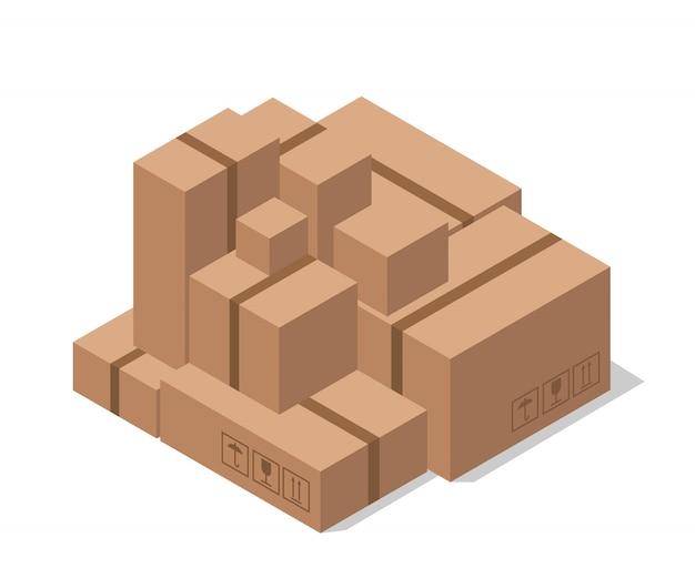 창고 골판지 상자. 상품 배달.