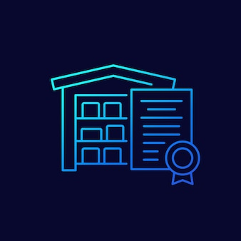 Warehouse and certificate line vector icon