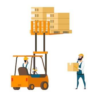 Warehouse character lifting box by forklift car