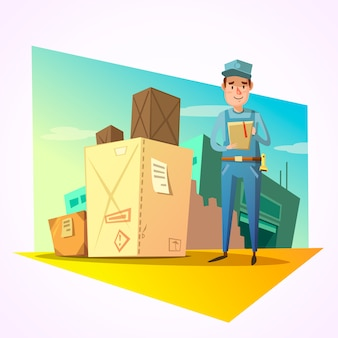 Warehouse concept with delivery worker and shipping boxes