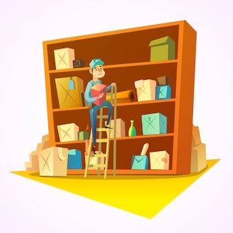 Warehouse concept with worker in front of shelves with goods