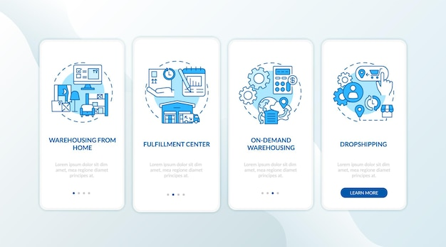 倉庫の顧客サービスの概念を備えた青いオンボーディングモバイルアプリページ画面