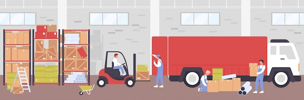 Склад процесс доставки иллюстрации. мультяшный плоский рабочий люди, использующие погрузчик погрузчик для погрузки ящиков для доставки грузовика, работающих в здании склада, логистический сервис фон