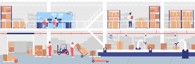 Набор иллюстраций процесса доставки на склад. мультяшный плоский рабочий или инженер люди, работающие с погрузочным грузовым оборудованием и интерьером склада конвейерной линии, наблюдая за процессом складирования