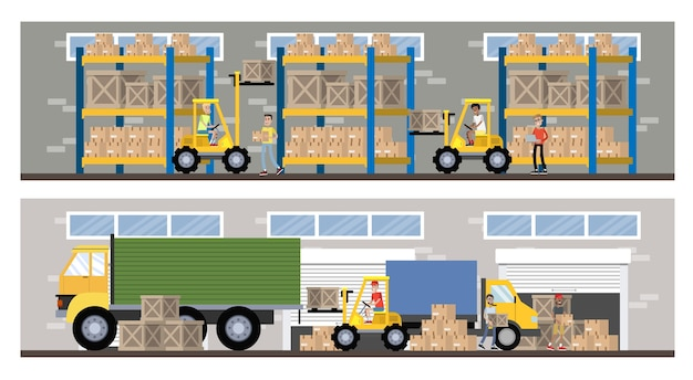 Warehouse or delivery service building interior with truck and forklift. workers with containers and boxes. transportation company with box storage. isolated vector flat illustration