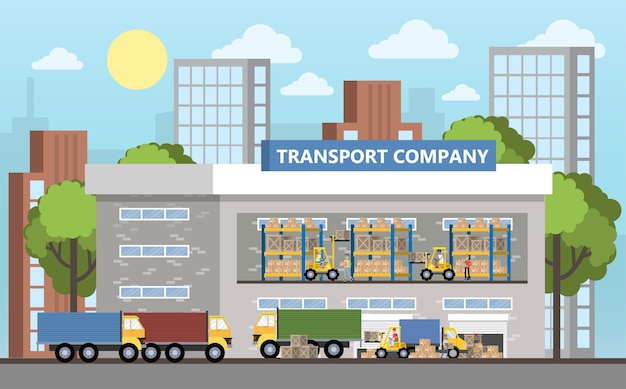 Warehouse or delivery service building interior. workers with containers and boxes. transportation company with box storage. isolated vector flat illustration