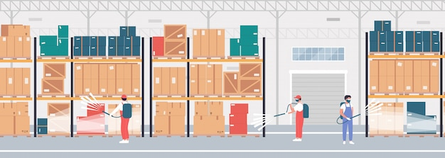 Warehouse disinfection work illustration. cartoon flat specialists in protective masks with spraying disinfectant cleaning, disinfecting storehouse stock room during coronavirus epidemic crisis