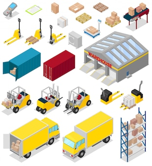 Warehouse  distribution storage industry in industrial storehouse of warehouser illustration set of cargo bussiness delivery