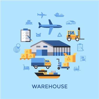 Warehouse elements background