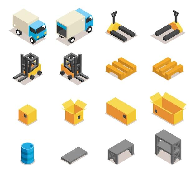倉庫設備アイコンセット。輸送とフォークリフト、貨物と箱、ロジスティックと配送、
