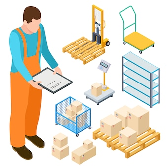 Warehouse equipment, trolley, parcels isometric vector collection