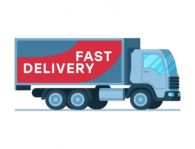 Warehouse fast delivery grey big shipping truck