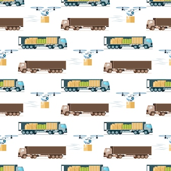 Warehouse fast delivery item seamless pattern