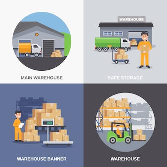 Warehouse flat design concept