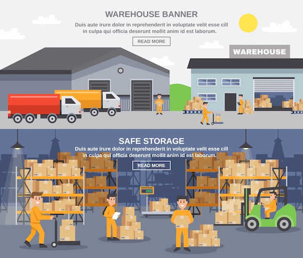 Warehouse flat horizontal banners