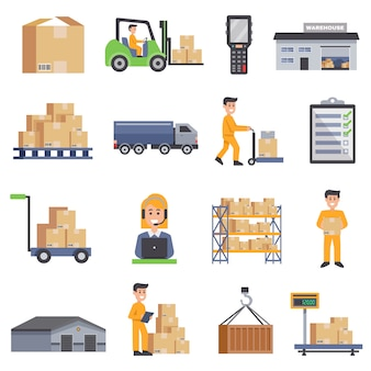 Warehouse flat icons set