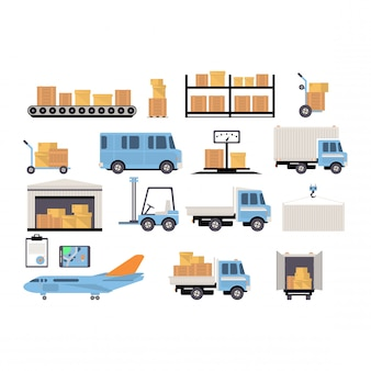 Warehouse flat set of logistics packing process delivery services