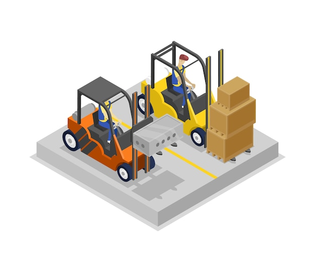 Warehouse forklifts in loading isometric 3d illustration