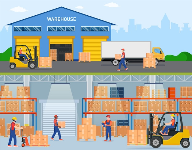 Warehouse horizontal banners with storage