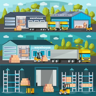 Warehouse horizontal illustration set