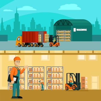 Warehouse horizontal illustration