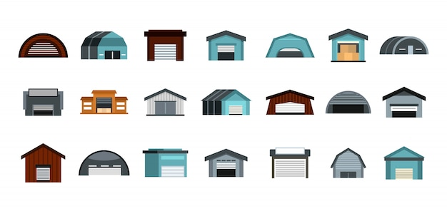 Warehouse icon set. flat set of warehouse vector icons collection isolated