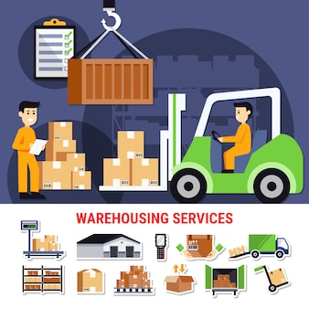 Warehouse icons and illustration