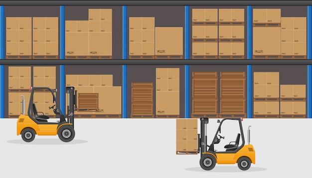白で隔離される倉庫の図