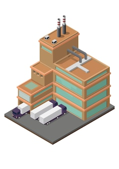 Warehouse industrial building with delivery transportation. isolated   isometric concept